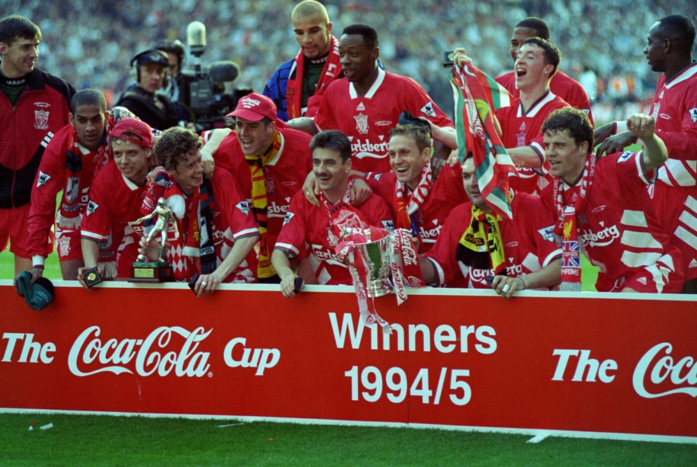 Photograph of Liverpool FC winning the League Cup