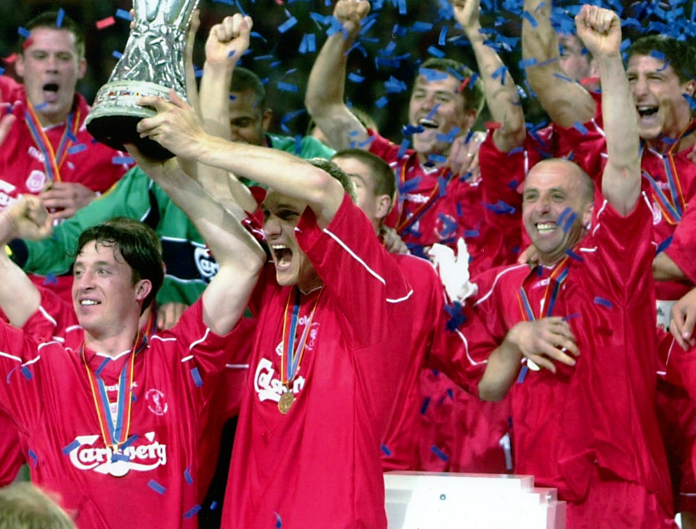 Photograph of Liverpool FC winning the UEFA Cup